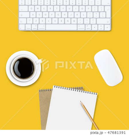 Computer Keyboard Frame Isolated Yellow Background 47681391