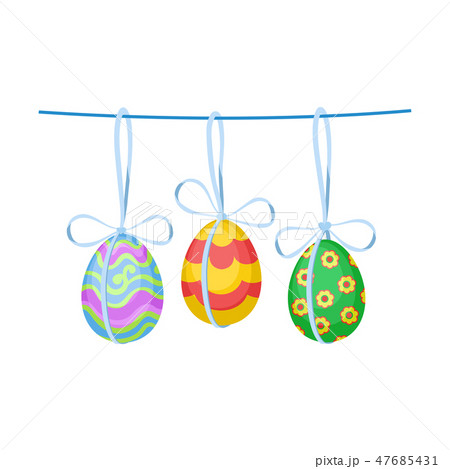 Ornate Easter eggs with bows hanging on rope. Decor for holiday celebration. Flat vector design 47685431