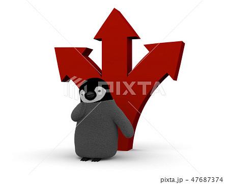 ペンギンと矢印 47687374