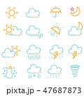 アイコン 天気 線画のイラスト 47687873