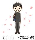入学 新入生 花吹雪のイラスト 47688465