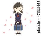 入学 新入生 花吹雪のイラスト 47688468