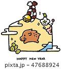 亥 亥年 猪のイラスト 47688924