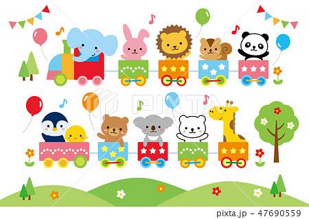 かわいい幼稚園動物汽車 47690559