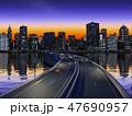 都会の夜景 高層ビル群  CG  イラスト 47690957