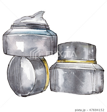 Cream jars sketch glamour illustration in a watercolor style isolated element. Watercolour 47694152