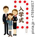 入学式 看板 家族のイラスト 47694857