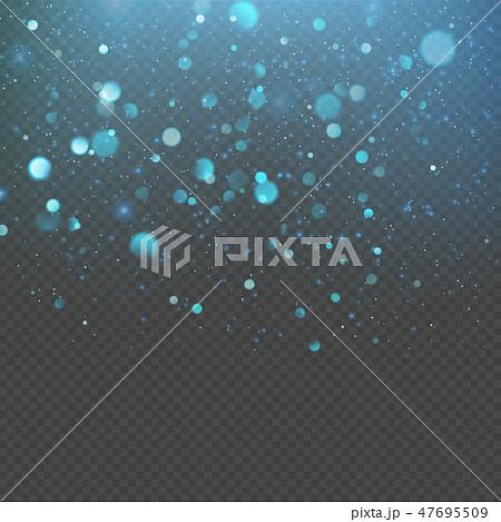Christmas blue bokeh snowfkakes overlay effect on transparent background. EPS 10 47695509
