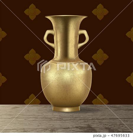 Realistic 3d antique retro grunge brass pitcher 47695633