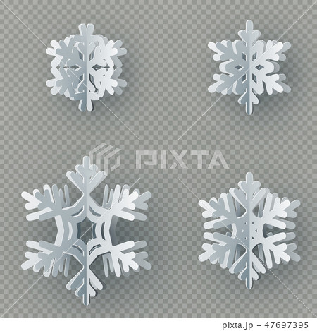 Set of nine different paper snowflake cut from paper isolated on transparent background. Merry 47697395
