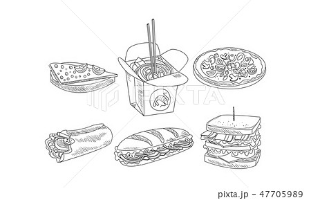 Vector set of fast food icons. Tasty sandwiches, burrito, box of noodles and pizza. Hand drawn 47705989