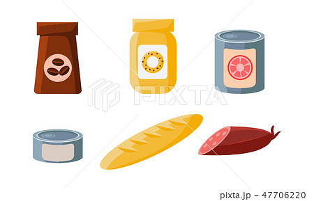 Food icons set, packaging of coffee, biscuits, cans, loaf, sausage vector Illustration 47706220