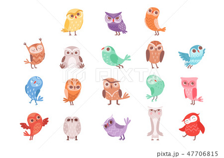 Cute cartoon colorful owls set, lovely owlets vector Illustrations 47706815
