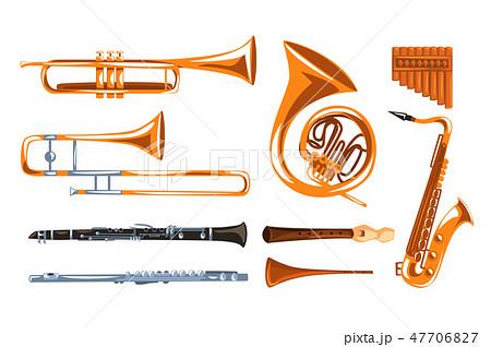 Musical wind instruments set, saxophone, clarinet, trumpet, trombone, tuba, pan flute vector 47706827