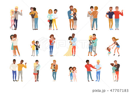 Set with hugging people. Friends, girlfriends, brothers, mothers and kids, couples in love. Cartoon 47707183