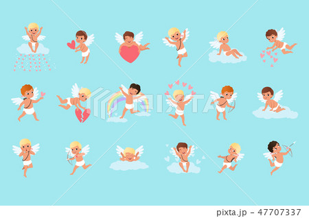 Set of cute cupid boys in different actions. Flying, sitting on clouds, spreading love. Mythical 47707337