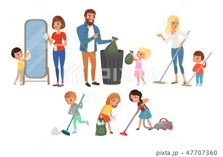 Children helping their parents with housework. Sweeping, vacuuming, washing floor, throwing out 47707360