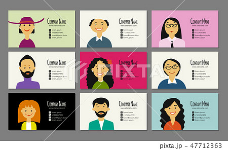 Business cards with people portraits for your design 47712363
