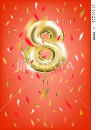 Festive gold balloon eight digit and foil confetti 47716217