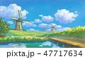 風車と自然風景 47717634