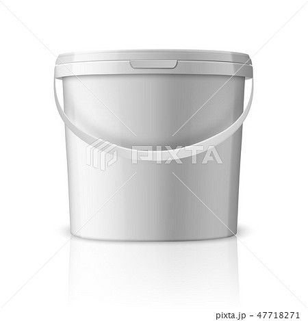 Vector Realistic 3d White Plastic Bucket for Food Products, Paint, Foodstuff, Adhesives, Sealants 47718271