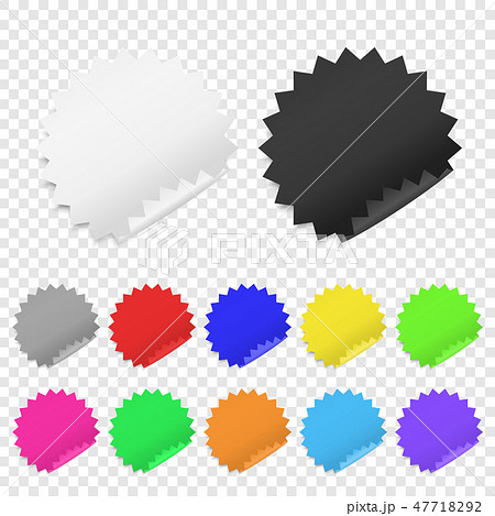 Vector Realistic 3d Circle Adhesive Colored Blank Paper Sticker Icon Set Closeup Isolated on 47718292