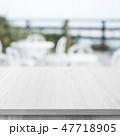 白木-背景素材-カフェテラス-ボケ-台-机 47718905