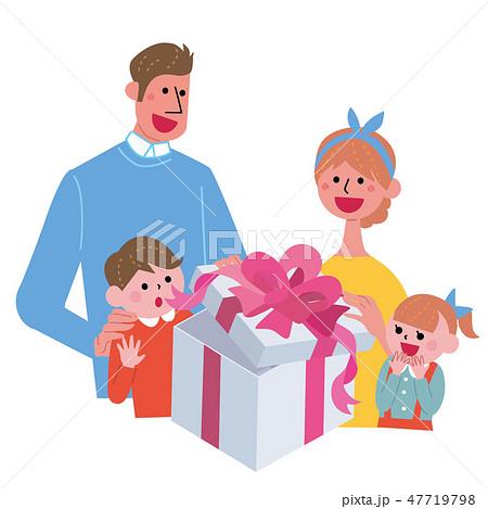 プレゼントを開ける 家族 イラスト 47719798