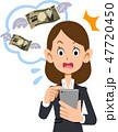 ビジネスウーマン 携帯電話 携帯料金のイラスト 47720450