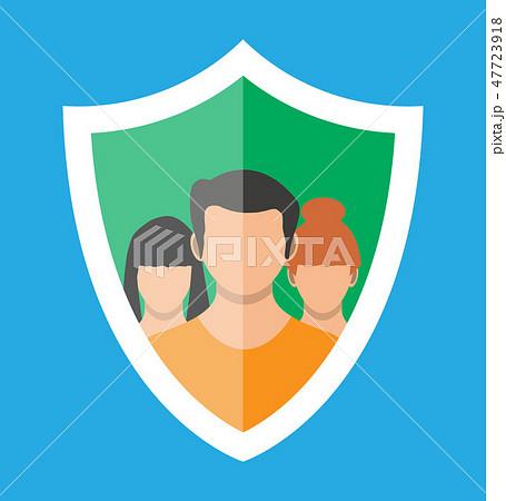 Shield icon with user silhouette symbol. 47723918