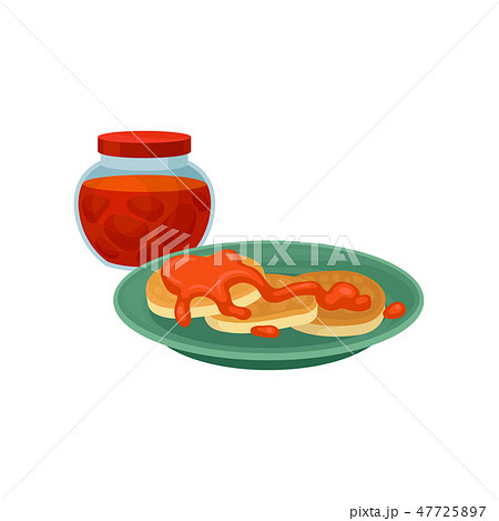 Pancakes with sweet topping and glass jar of strawberry jam. Food for breakfast. Delicious meal 47725897