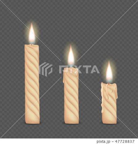 Vector set of realistic white burning candles  47728837