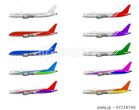 飛行機 旅客機 ジェット機 航空機 カラーバリエーション のイラスト素材
