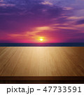 wooden table with beautiful sunset background 47733591