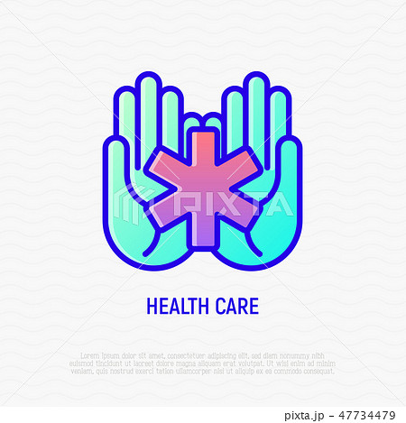 Star of life symbol in hands, medical help icon 47734479