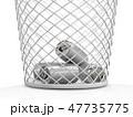 ゴミ箱に入っている空き缶 エコロジーコンセプト 3Dレンダリング 47735775