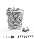 ゴミ箱に入っている空き缶 エコロジーコンセプト 3Dレンダリング 47735777