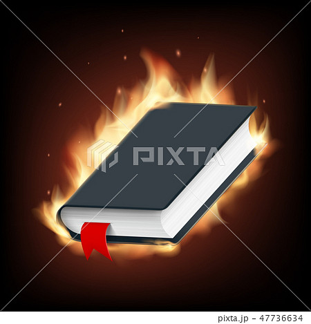 Black book with a blank cover on fire 47736634