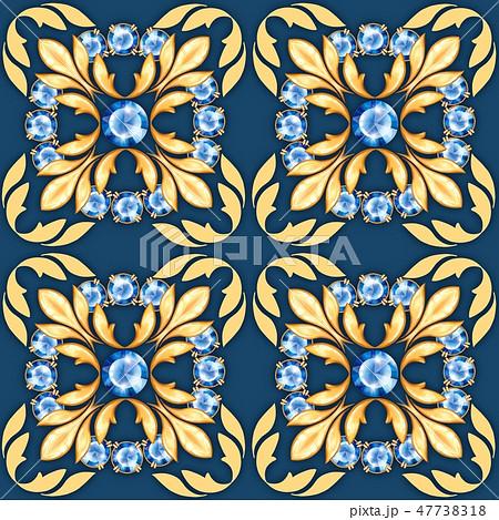 Seamless jewelry pattern with blue gems 47738318