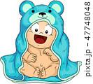 幼児 お風呂 浴室のイラスト 47748048