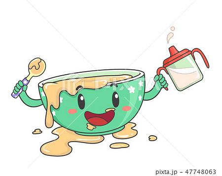 Toddler Bowl Mascot Messy Food Illustration 47748063