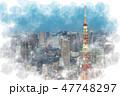 東京 夜景 都市風景のイラスト 47748297