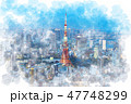 東京 夜景 都市風景のイラスト 47748299