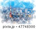 東京 夜景 都市風景のイラスト 47748300