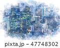東京 夜景 ビル群のイラスト 47748302
