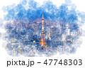 東京 夜景 都市風景のイラスト 47748303