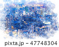 東京 夜景 都市のイラスト 47748304
