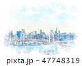お台場から見た都市風景 水彩画風 47748319