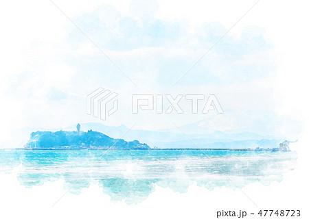 稲村ケ崎から見た江ノ島 水彩画風 47748723