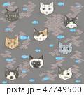 猫 顔 柄のイラスト 47749500